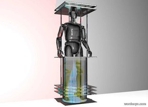 a 6 feet tall clear device.a man is -18 inches behind the device.the man is metal.a red light is 6 inches left of the device.a blue light is 6 inches right of the device.the sun's altitude is 90 degrees.a flat wall is 6 inches behind the device.the ground is white.the wall is 1 inches in the ground.a lavender light is 3 inches behind the device.