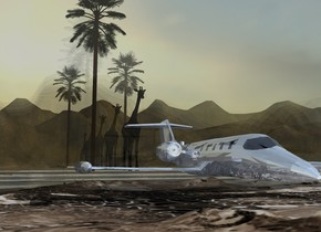 A shiny baby blue plane is above a [fantasy] island. The ground is shiny cream. A humongous clear wall is behind the plane. A black giraffe is behind the wall. A palm tree is left of the giraffe. A humongous clear wall is behind the giraffe. A black giraffe is behind the wall. A humongous clear wall is behind the giraffe. A black giraffe is behind the wall. A palm tree is right of the giraffe. A black giraffe is 10 feet behind the giraffe. A palm tree is left of the giraffe. A humongous clear wall is behind the giraffe. A black giraffe is behind the wall. The ground is 110 feet high. The azimuth of the sun is 90 degrees. Camera light is cream.