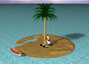 a [sand] island in the sea. the sea is enormous. a palm is on the island. a man is sitting in front of the palm. a big boat is next to the island on the water. very big fruits are near the man. the man is 9 foot high