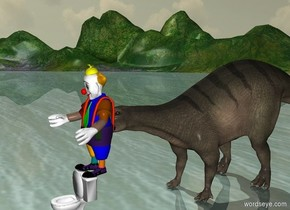 Toilet. A clown is standing on toilet. A dinosaur stands behind toilet