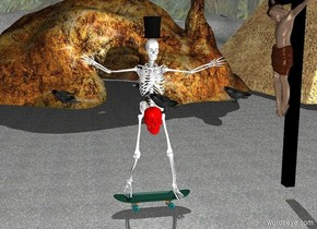 Wet skeleton on skateboard facing east. Red skull in middle of skeleton facing east. Ground is pavement. Terrain is absent. Crow 4 feet above ground in front of skeleton. Crow 4 feet above ground to the left of skeleton. Crow 4 feet above ground to the right of Skeleton. Crow 4 feet above ground behind skeleton.  Cave 20 feet left of skeleton facing east.  Tophat on skeleton. Pyramid behind cave. Light on ground.  Sky is night. Black cross 2 feet behind skeleton