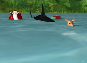 Ocean. Shark in ocean. Tiny Santa in ocean. Tiny deer in front of shark. Small presents in ocean