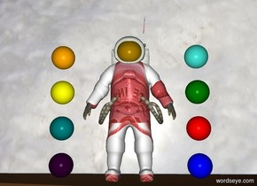 [mystery] Astronaut. 37 foot tall 37 foot wide [ice] 1 inch behind astronaut. Ground is [crater]. Blue bowling ball 6 inches east of astronaut. Red bowling ball 6 inches above blue bowling ball. Green bowling ball 6 inches above red bowling ball. Purple bowling ball 6 inches left of astronaut. Teal bowling ball 6 inches above purple bowling ball. Yellow bowling ball 6 inches above teal bowling ball. Orange bowling ball 6 inches above yellow bowling ball. Turquoise bowling ball 6 inches above green bowling ball.