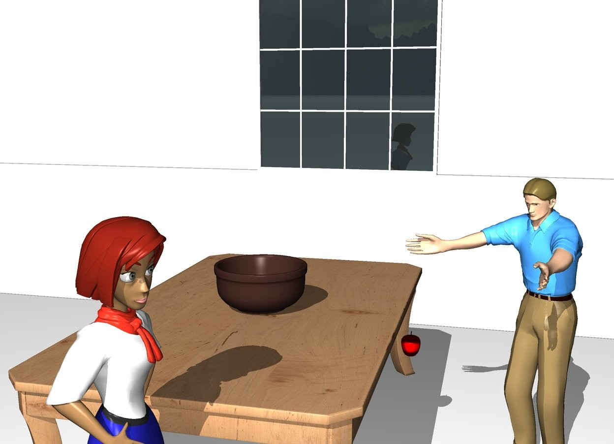Input text: A woman is on the left of a big  table. The table is 3 feet tall. On the table is a very big  bowl. The ground is white. The ground is white. In front of the table is a man. The man faces the woman. In front of the table is an apple. The apple is 2.2 feet above the ground. 4 feet on the right of the table is a window 5 feet above the ground. The window faces the table. 4 feet on the right of the table is a first wall. The wall faces the table. The wall is 5 feet tall and 50 feet long. on the right of the window is a second wall 5 feet above the ground. The second wall faces the table. The second wall is 50 feet long.