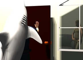 a door is in front of a 1st 10 foot tall beige wall. a man is 1 foot in front of the door. he faces the door. a 7 foot deep shark faces the door. it leans 60 degrees to the back. it is -5.9 feet above and -1.8 foot in front of the man.  a 2nd 20 foot tall beige wall is 12 feet in front of the 1st wall. a 4 foot tall sofa is behind the 2nd wall. it faces back. the camera light is black. 3 linen lights are 10 feet above the shark. a large window is .5 foot to the right of and -4 feet above the door. a yellow light -1 foot above and -1 foot in front of the sofa.  a 6.3 foot tall woman is -6 foot behind and -2.3 feet to the right of the sofa. she faces the door.