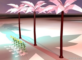 three palm trees. they are pink. ambient light is lilac. it is dawn. cyan light next to palm trees and 20 feet above ground. 5 flowers in front of palm trees. they are 8 feet tall. ground is [green]. one pink light -5 feet in palm trees