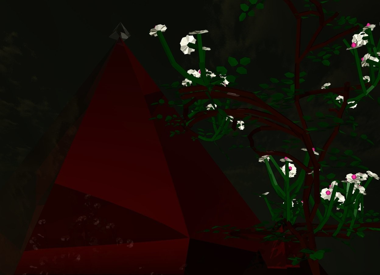Input text: It is evening. Ground is grey. A transparent red pyramid is 14 feet tall. There is a transparent pyramid on it. There is a rose inside 1st big red transparent  pyramid. An grey light is 20 feet above 1st pyramid.