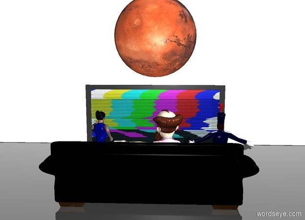 Input text: White sky. Clear ground. Terrain is 1 inch tall. Old man. Fat woman right of old man. 13 foot wide 4 foot tall 2 foot deep chair behind old man. Young man left of old man. Giant television 7 feet in front of old man facing chair. Tall 35 foot wide wall 4 feet in front of television. 7 foot wide 7 foot tall mars 8 inches above television.