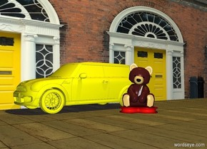 a yellow car is 6 foot in the ground. a large brown teddy bear is to the right of the car. the teddy bear's head is brown. it is on the ground. it faces southeast. a huge wall is to the left of the car. the wall faces right. the wall is 20 foot wide [House]. the ground is 10 foot wide [sidewalk]. a gold light is 20 feet above the teddy bear.