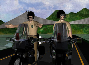 1st motorcycle is on a 300 feet long road. 2nd motorcycle is right of the 1st motorcycle. the windshield of the 1st motorcycle is clear. the fat windshield of the 2nd motorcycle is clear. 1st  5 feet tall man is -4 feet above the 1st motorcycle. the shirt of the man is tan. a 2nd 4.7 feet tall man is -3.8 feet above the 2nd motorcycle. the fat shirt of the 2nd man is tan. 1st .7 feet tall black helmet is -.7 feet above and -1.9 feet in front of and -1.9 feet left of the 1st man. it leans to the front. a fat .7 feet tall black helmet is -1.16 feet in front of and -.63 feet above and -1.37 feet left of the 2nd man. it leans 10 degrees to the front. it faces southeast. 1st .1 feet tall optical device is -.73 feet above and -.3 feet in front of and -.57 feet left of the 1st helmet. it leans to the front. 2nd fat .13 feet tall optical device is -.58 feet above and -.62 feet in front of and -.82 feet left of the fat helmet. it faces southeast. a .3 feet tall  silver badge is -1.4 feet right of and -1.4 feet in front of and -1.3 feet above the 1st man. a [metal] bridge is 75 feet behind the 1st motorcycle. 1st upside down .4 feet tall  red glass is -1.2 feet in front of and -1.1 feet above the 1st motorcycle. 2nd fat .4 feet tall upside down red glass is -1 feet in front of and -1.1 feet above the 2nd motorcycle.