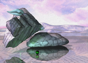 A large image-11330 boulder is next to a huge image-11330 rock. It is leaning 40 degrees to the front. The ground is shiny 10 feet wide image-11330. It is 70% dark. The sun is pink. Camera light is pale cyan. A large green apple is in front of the boulder. A humongous pale cyan mouth is -3.2 foot above the rock. The altitude of the sun is 40 degrees. A tree is 4 feet left of the rock. It is upside down. A mauve light is left of the tree. A green light is 5 feet behind the apple.