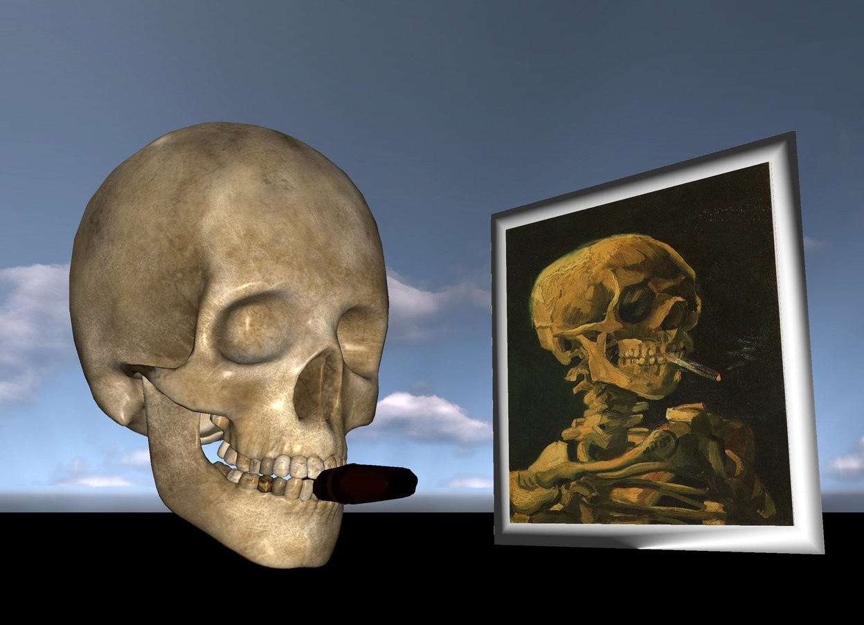 Input text: The van Gogh picture is on the black marble ground.  The big skull is two feet in front of the picture. It is facing right.  A  cigar is -3 inches to the right of the skull. It  is facing right. It is 2.5 inches above the ground.