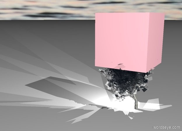Input text: clear plant. pink cube is 10 feet in the plant. it is 17 feet tall. 3 white lights 18.9 feet in the plant. camera light is white. sky is [sunset]