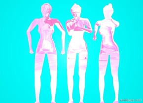 A 1st flat hot pink reflective woman is .1 centimeters in front of a cyan wall. A 2nd hot pink reflective flat woman is to the right of the 1st woman. A 3rd reflective flat hot pink woman is to the left of the 1st woman. A 1st 20 foot tall reflective cyan animal is 60 feet in front of the 1st woman. The 1st animal is facing left.