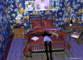 There is a black swimmer -4.2 feet above the bed. There are fabric clothes -1.05 feet above the swimmer. The clothes is facing up. The bed is on the ground. The bed is silver. There is a table next to the bed. There is a silver lamp on the table. There is a book -2 inches to the right of the lamp. The book is facing up.  The ground is carpet.  There is a tall pattern wall behind the bed. There is a woman picture -.2 inches in front of the wall. The picture is 10 inches above the bed. There is a human picture to the left of the picture. There is a plant picture to the right of the woman picture. The table is in front of the wall. The swimmer is 4 feet in front of the wall. There is a wood table .5 feet to the right of the bed. The table is in front of the wall. There is a large silver brush on the table. The brush is facing left. There is a large bottle to the left of the brush. There is a glass on the book.  There is a 37 foot long tall pattern wall 3 feet to the left of the bed. The wall is facing right. There is a  brown cylinder in front of the wall. The cylinder is facing up. The cylinder is 15 feet long.  There is a tall pattern wall 5 feet to the right of the bed. The wall is facing right. The wall is 37 feet long.  There is a large ceiling 10 feet above the bed. The ceiling is black. There is a very tiny 30% yellow light in the lamp. There is a large blue light 5 feet above the bed. There is a tall black wall 13 feet in front of the bed.  There is a shoe in front of the bed to the left of the swimmer. There is a shoe next to the shoe. The shoe is facing southeast.  There is a small jaguar -2 feet above the bed -2.4 feet to the right of the swimmer. The jaguar is facing northwest.  There is a wood chair in front of the table. The chair is facing northwest. There is a book 1.5 feet to the left of the jaguar and -1 feet above the bed. The book is facing up. The book is facing the northeast.