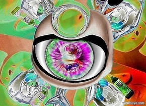 The sky is image-11333. the ground is image-11333. a large silver sphere. a very enormous shiny green eye is 2 feet above the sphere. the eye leans 90 degrees to the front. a silver shiny dolphin is above the eye. an enormous silver alien is above the dolphin. the alien leans 90 degrees to the front. the body of the eye is silver.