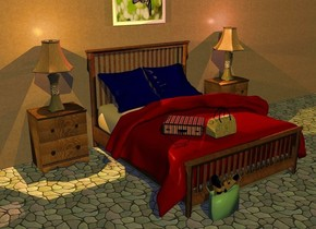 a bed. a 40 feet long  and 12 feet tall salmon stucco wall is behind the bed. the pillow of the bed is  navy. the blanket of the bed is maroon. a small suitcase is 2 inch tall plaid. it is  -2.5 feet above and -3.2 feet left of and -3 feet in front of the bed. the handle of the suitcase is black. the lock of the suitcase is black. it faces northeast. it leans 90 degrees to the back. a 1 feet tall  canvas duffel bag is -.5 feet right of and -.3 feet in front of the suitcase. the handle of the duffel bag is black. the ground is tile.  a 1.3 feet tall celadon green shopping bag is in front of and -3 feet left of the bed. 1st sandal is -.8 feet above and -.89 feet left of and -.7 feet in front of the shopping bag. it leans 58 degrees to the front. 2nd sandal is -.3 feet right of and -.9 feet above the 1st sandal. it faces southeast. it leans 56 degrees to the back. 1st table is -3 inches left of the bed and in front of the wall. 1st lamp is on the table. a orange light is -4 inches above the lamp. a .18 feet tall optical device is -4 inches left of and -5.5 inches in front of the suitcase.  the frame of the  optical device is purple. it leans to the front. the lens of the optical device is clear sea blue. a [love] painting is 1 feet above the bed and in front of the wall. 2nd table is .3 feet right of the bed and in front of the wall. 2nd lamp is on the 2nd table. a copper light is -4 inches above the 2nd lamp. the sun's azimuth is 200 degrees. the sun is antique gold. the camera light is dim.