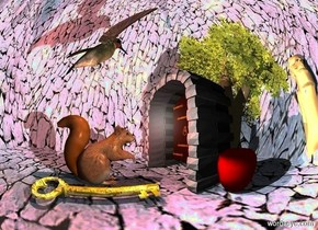 a 10 feet tall texture dodecahedron.a squirrel is -10 feet above the dodecahedron.a silver sphere is 1 feet right of the squirrel.a 3 feet tall tree is 8 inches in front of the squirrel.a 1.5 feet tall door is 4 inches in front of the squirrel.the door is facing the squirrel.a 0.5 feet tall gold key is right of the squirrel.the key is face up.the key is facing west.a brown light is behind the tree.a apple is right of the door.a 1 feet tall hummingbird is 4 inches above the squirrel.the hummingbird is facing southwest.a 2 feet tall statue is right of the tree.the statue is facing north.a 30% rust light is above the squirrel.