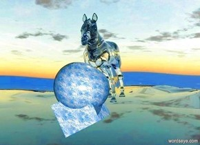 the ground is clear. There is a very large [marble] cube. the cube is 10 feet above the ground. the cube is leaning 30 degrees to the front. a marble is 10 feet below the cube. a 6 foot tall [marble] sphere is 12 feet above and 7 feet to the left of the marble. a large clear horse is to the left of the sphere. the sphere is in the cube. the horse is in the sphere. the horse is facing the marble.