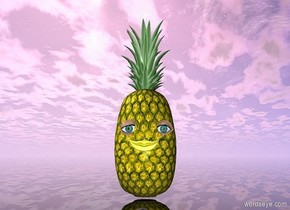 There is a small marble. a pineapple is 6 inches behind the marble. a 1st small eye is 6 inches behind and .1 centimeter to the right of the marble. the 1st eye is 4 inches above the ground. a 2nd small eye is 6 inches behind and .1 centimeter to the left of the marble. the 2nd eye is 4 inches above the ground. A small shiny yellow mouth is 5 inches behind the marble. The mouth is 3 inches above the ground. The ground is clear.