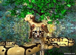 a very large snake. a very large cat is -6 feet above the snake. the cat faces southwest. a gold light is 1 feet in front of and 1 inch above the snake. a  tall tree is -2 feet behind and -3 feet to the right of the snake. a enormous [Striped] dog is -4 feet above the cat. the dog faces left.the sky is [Dream]. the ground is clear. the sun is sea mist blue.