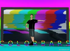"A tv sits on the ground.  A tiny gay boy dances in front of the tv.  A very tiny rainbow ""C O L O R B A R S"" is in front of the boy.  The sky is rainbow colored.  The ground is rainbow colored."