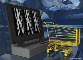 a 50 inch tall gold shopping cart. a 80 inch tall and 50 inch deep and 100 inch wide laptop computer is behind the shopping cart.the screen of the laptop computer is 20 inch wide [KAWE40].ground is clear.ground is 170 feet tall.