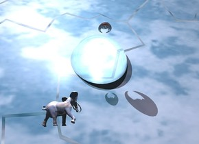 clear sphere. it is 10 feet tall. it is 6 feet in ground. three ghost white lights 2 feet in sphere. shiny black symbol 2.5 foot above sphere. it is facing down. 25 foot tall silver flag is 4 feet above ground and 2 feet to right of sphere. it is facing sphere. it leans 25 degrees to the front. it is afternoon. sun is light pink. one lilac light above symbol. animal -31 feet in front of symbol. it is 4 feet above ground. it is 4 feet tall. it leans 70 degrees to the right. it is [cloud]. dim antique gold light behind animal