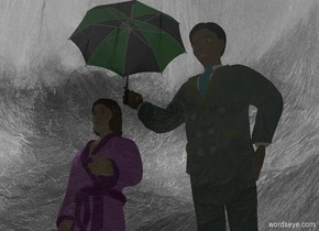 a man.a green umbrella is -20 inches left of the man.the umbrella is 4.5 feet above the ground.the umbrella is -30 inches behind the man.the sky is [weather].a clear flat wall is 2 feet in front of the man.the wall is 30 feet tall.a woman is left of the man.the sun is grey