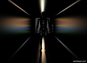 a black structure.the structure is 100 feet deep.the structure is 8 feet wide.the structure is 7 feet tall.a shiny black man is -30 feet behind the structure.a 50% yellow light is 25 feet behind the man.the light is 3 feet above the ground.a 50% red light is 2 inches above the yellow light.a 50% blue light is 2 inches beneath the yellow light.a 50% orange light is 2 inches above the red light.a 50% green light is 2 inches beneath the blue light.