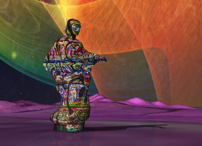 the giant [art] statue is on the dull purple [grass] ground. the sky is [space]. .