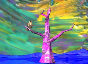 the purple [paint] tree is on the shiny blue ground. the sky is red [paint]. the big owl is 9.9 feet above the ground and -3 foot to the left of the tree. the white light is 6 feet in front of the owl. the red light is 2 feet above the owl.