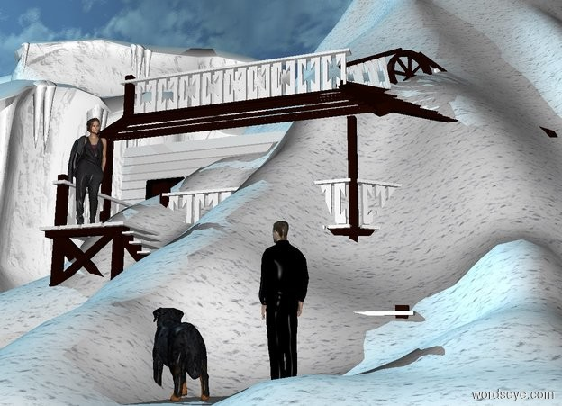 Input text: a [snow] volcano.the volcano is 1 feet in the ground.the ground is snow.a black man is -10 feet in front of the volcano.a building is 2 feet behind the man.the man is on the ground.the man is facing northwest.the building's railing is snow.the sun is sky blue.a dog is -8 inches left of the man.the dog is facing northwest.the dog is in front of the man.a woman is -3.5 feet left of the building.the woman is -3 feet in front of the building.the woman is 7 feet above the ground.the woman is facing the dog.