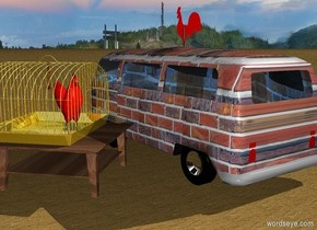 a 100 inch tall.volkswagen bus.the volkswagen bus is 50 inch wide [brick].two dodger blue lights are -7 inch above the volkswagen bus.the window of the volkswagen bus is clear.a 80 inch tall red weather vane is -50 inch above the volkswagen bus.ground is [sand].a 30 inch tall and 80 inch wide and 70 inch deep wood table is right of the volkswagen bus.the table is facing northwest.a 50 inch tall and 70 inch wide and 80 inch deep gold birdcage is on the table.a 40 inch tall wild chicken is -50 inch above the birdcage.the wild chicken is facing north.the wheel rim of the volkswagen bus is silver.