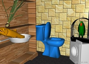 a 250 inch wide and 300 inch tall 1st   wall.the 1st wall is 180 inch wide [tile].a 150 inch tall dodger blue toilet is in front of the 1st wall.the toilet is facing east.the toilet is -290 inch above the 1st wall.the toilet is -200 inch right of the 1st wall.a 2nd 300 inch tall and 400 inch wide [tile] flat wall is in front of the 1st wall.the 2nd wall is left of the 1st wall.the 2nd wall is facing right.a 300 inch tall and 45 inch deep and 300 inch wide wood bookcase is in front of the 2nd wall.the bookcase is facing east.ground is sand.a 100 inch tall white washing machine is 15 inch right of the toilet.the washing machine is facing the bookcase.a 100 inch tall black  birdcage is -10 inch above the washing machine.a 70 inch tall green parrot is -90 inch above the birdcage.a 20 inch tall frying pan is -80 inch left of the bookcase.the frying pan is -200 inch above the bookcase.a 35 inch tall orange fish is -35 inch above the frying pan.the fish leans 20 degrees to back.a 150 inch tall onion is -45 inch above the fish.the onion leans 30 degrees to back.sky is black.