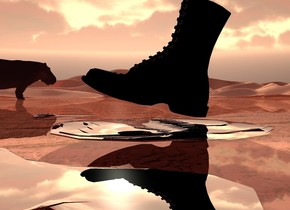 A boot is above a flat silver alligator. It is leaning 15 degrees to the back. The alligator is leaning 90 degrees to the back. It is -1.45 inch above the ground. The ground is 6 inch wide shiny [mud]. The sun is beige. Ambient light is brown. Camera light is black. It is dusk. A hippo is 30 feet left of and in front of the alligator. It is facing north.