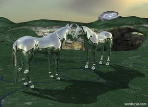a 100 feet tall silver horse.a 2000 feet wide and 1800 feet tall silver wall is in front of the horse.the azimuth of the sun is 70 degrees.