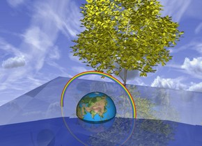 the 10 foot wide transparent glass cube is 1000 feet above the [sky] ground. the globe is 1 foot inside the glass cube. the bright white light is 0.5 foot above the globe. the  4 foot wide rainbow is -1 foot above the globe. the tiny tree is 0.1 foot in front of the globe.