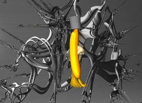 a 1000 inch wide and 800 inch tall gray [KAWE59] wall.a 35 inch tall banana is 400 inch in front of the wall.the banana is -450 inch above the wall.the banana is -850 inch right of the wall.the banana leans 80 degrees to the front.a 30 inch tall gray top hat is -11  inch above the banana.the top hat leans 10 degrees to right.ground is clear.sky is gray.a 1st 35 inch tall 70% dim daffodil yellow foot is -147 inch above the banana.the 1st foot is -2 inch right of the banana.a 2nd 35 inch tall 60% dim daffodil yellow foot is left of the 1st foot.a 25 inch tall    orange nose is -70 inch above the banana.the nose is -16 inch in front of the banana.the nose leans 25 degrees to back.a 230 inch tall clear white  woman is 40 inch behind the banana.the woman is -180 inch above the banana.