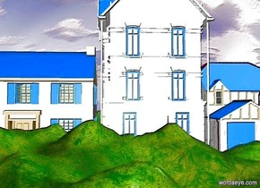 a 1st enormous white building. the building's window is dodger blue. the ground is 100 feet tall. a 2nd enormous white building is 5 feet to the right of the 1st building. its window is dodger blue. it faces back. its roof is dodger blue. a enormous house is 5 feet to the left of the 1st building. it faces back. the house is white. its door is dodger blue. its window is dodger blue. its shingle is dodger blue.
