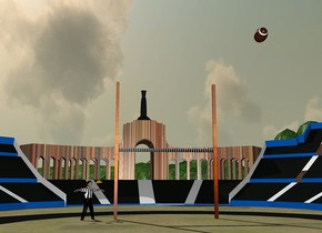 a .6 feet tall football is -20 feet above the arena. it leans northeast. a [stripe] goalpost is 37 feet left of the ball and on the ground. it faces right. the pole of the goalpost is [orange]. the wall of the arena is electric blue. the opening of the arena is brick.a man is  1 feet in front of the goalpost. he faces northeast. the shirtsleeve of the man is stripe. the torso of the man is stripe. the cap of the man is orange. the thigh of the man is black. the pelvis of the man is black. the calf muscle of the man is black. the sports field of the arena is grass. the sun's azimuth is 240 degrees.