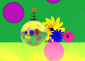 the sky is [pattern]. the orange ground is reflective. the  big reflective glass sphere is 20 feet above the ground.  the flower is on top of the sphere. the white light is in front of the flower. the giant flower is 10 feet north of the sphere.  the flower is facing down. another giant flower is 5 feet east of the flower. it is facing down. a 4 foot wide blue flower is 5 foot behind the flower. it is facing down. there is another 4 foot wide blue flower 1 feet west of the blue flower. it is facing down. there is a 10 foot wide orange flower 5 feet behind the blue flower. it is -1 feet east of the blue flower. it is facing down.