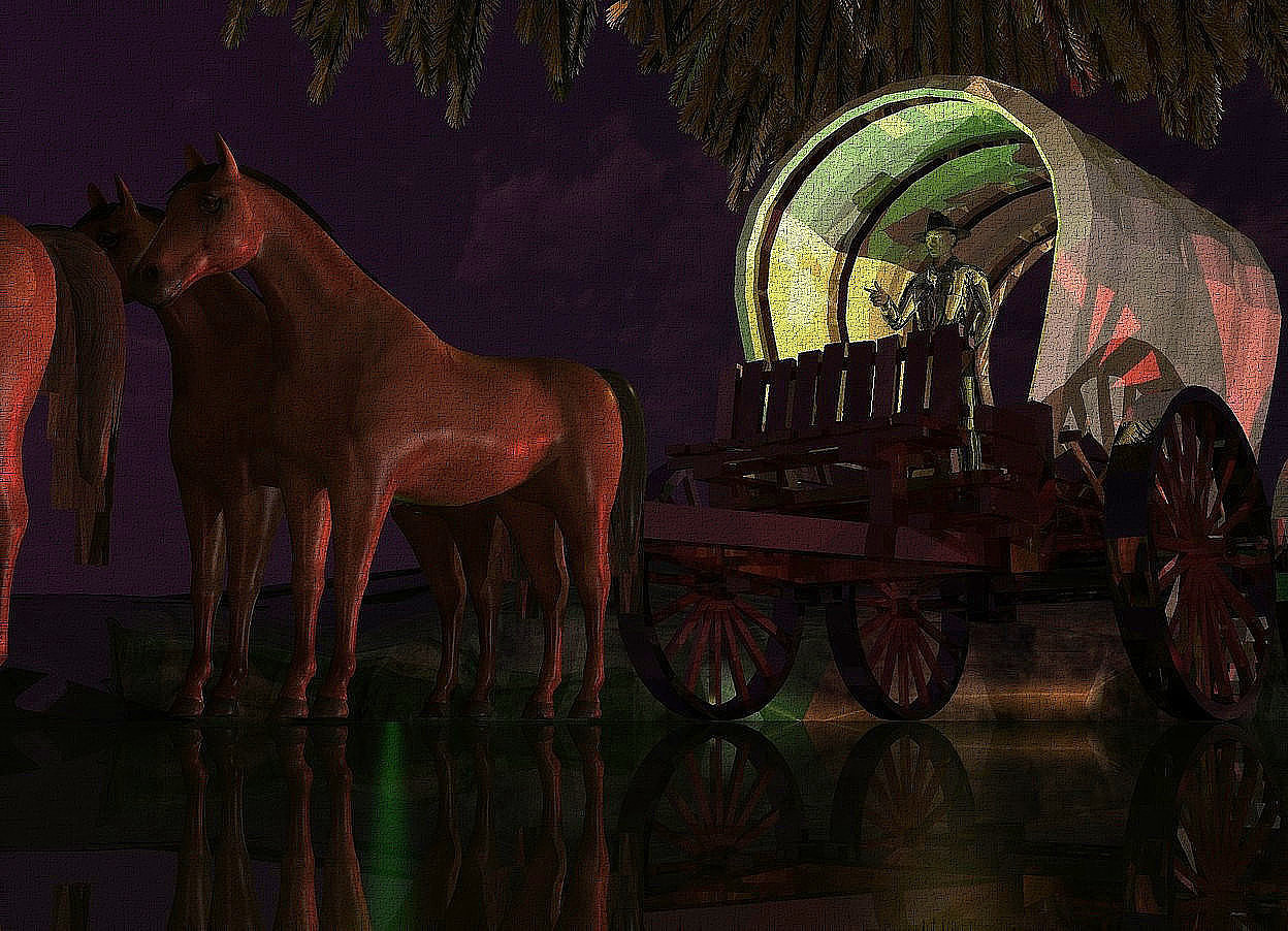 Input text: A dark gold tree is in a shiny vehicle. The ground is dark and shiny. A small horse is in front of and -4 feet left of the vehicle. A small 70% dark horse is left of the horse. A small horse is in front of the horse. A small 120% dark horse is right of the horse. Camera light is brown. A lemon light is -2 feet above the vehicle. It is dusk. A red light is right of the vehicle. The sun is purple. 2 dim lights are 4 feet right of and 5 feet behind the horse. A green light is -2 feet left of and in front of the vehicle. A small clear man is -4.2 feet above the vehicle.