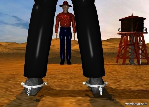 Input text: a 1st 200 inch tall man is facing north. a 1st 4.7 inch tall boot spur is -198 inch above the 1st man..the foot of the 1st man is 2 inch wide [dirt].the 1st boot spur is facing west.the 1st boot spur is -22.2 inch left of the 1st man.the 1st boot spur is -16 inch in front of the 1st man.a 2nd 120 inch tall  man is -250 inch in front of  the 1st man.the shirt of the 2nd man is leather.a orange light is above the 2nd man.a orange light is in front of the 2nd man.a 100 inch tall water tower is 80 inch right of the 2nd man.a 2nd 4.7 inch tall boot spur is -198 inch above the 1st man.the 2nd boot spur is facing west.the 2nd boot spur is -62.8 inch left of the 1st man.the 2nd boot spur is -16 inch in front of the 1st man.