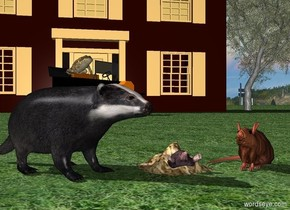 a mole.the mole is leaning 45 degrees to the north.the mole is 6 inches in the ground.a tiny wave is -5.5 inches above the mole.the wave is dirt.a badger is left of the mole.the badger is on the ground.the badger is facing southeast.a rat is right of the mole.the rat is on the ground.the rat is facing southwest.the rat is skin.a house is 30 feet behind the mole.the house is on the ground.a willow tree is right of the house.the ground is field.a 4 feet tall sedan is 3 feet in front of the house.the sedan is facing southeast.a 1.5 feet tall frog is -12 inches above the sedan.the frog is facing southeast.the frog is -54 inches left of the sedan.