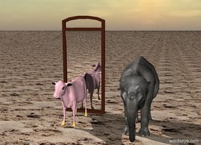 A  pink cow is in front of a large mirror.  The sky is . The ground is sand. A small elephant is two feet to the right of the cow.