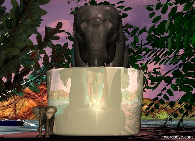 Input text: A wide shiny beige mug is behind an elephant. It is on the ground. Camera light is cream. A tiny elephant is under and -8 feet in front of the elephant. It is facing north. The sun is pink. Ambient light is black. A cyan light is right of the elephant. A red light is left of the elephant. A dark tree is -6 feet right of and in front of the elephant. A dark tree is -6 feet left of and in front of the elephant. A 2 inch high elephant is in front of and -2 inch left of the mug. A 1.5 feet high elephant is behind the mug. A 3 feet high dark bush is left of the elephant. A 3 feet high dark bush is -0.2 foot right of the elephant. A 3 feet high dark bush is behind the elephant. A cyan light is in the tree. A 2 inch high dark boat is 0.7 foot left of and behind the elephant. It is -0.6 inch above the ground. The azimuth of the sun is 120 degrees. The altitude of the sun is 80 degrees.