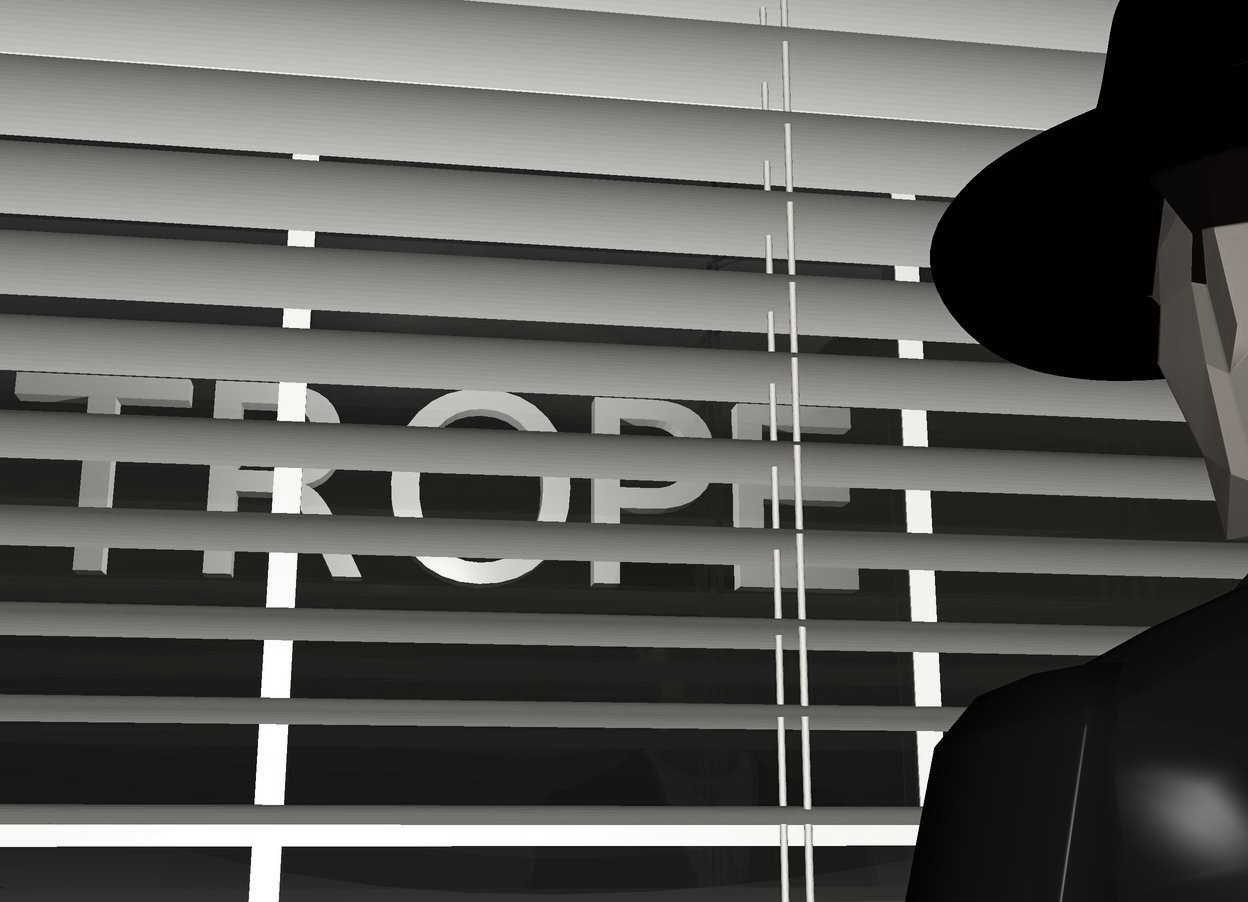 """Input text: a 4 feet tall blind is in front of the window. a 3 feet tall man is in front of the blind.the man is facing the blind.a 0.25 feet tall hat is -2.5 inches above the man.the hat is facing north.the hat is -13.1 inches behind the man.the hat is -12 inches right of the man.the hat is black. it is evening. the sun is red.   the large """"TROPE"""" is 20 feet behind the blind. it is 6 feet above the ground. a light is 3 feet in front of the """"TROPE""""."""