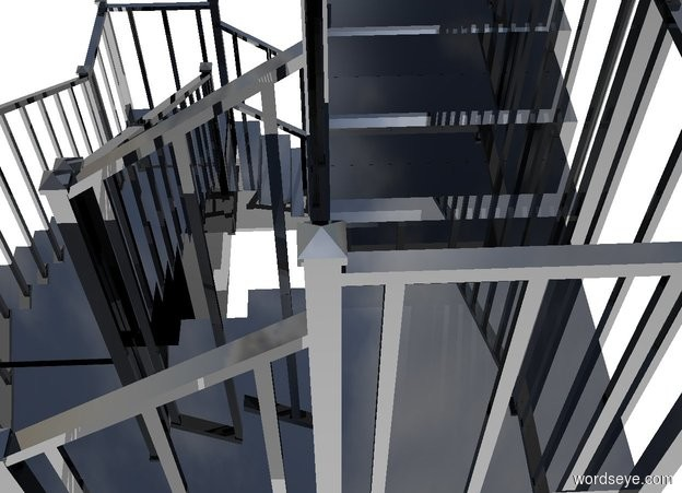 Input text: a 1st black staircase. a 1st black 8 foot tall and 3 foot wide and 2.5 foot deep cube is -.1 foot to the left of and -5 foot in front of the staircase. a 2nd shiny black staircase faces back. it is -3.5 feet above and -2.8 foot in front of and -9.1 feet to the left of the 1st staircase. a 2nd shiny black 8 foot tall and 3 foot wide and 2.5 foot deep cube is -.1 foot to the right of and -5 foot behind the 2nd staircase. a 3rd shiny black staircase is -3.5 feet above and -2.8 foot behind and -9.1 feet to the right of the 2nd staircase. ground is white. a tiny black person is 1 behind and -1 foot to the left of the 1st staircase.