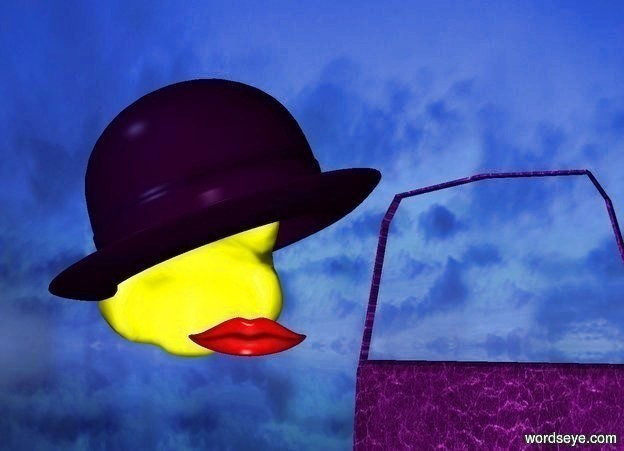 Input text: a .85 foot wide purple bowler hat is  above and -.5 foot to the left of a maroon mouth. the mouth is 10 feet above the ground. the bowler hat leans to the right. a .6 foot tall yellow head of hair is -.5 foot beneath the hat. ground is clear.  a small purple [leather] handbag is .1 foot to the right of and -.5 foot  beneath the mouth. it faces southwest. sun is iceland blue.